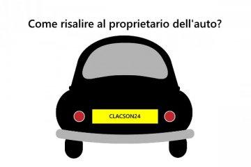 auto nera stilizzata su sfondo bianco con targa gialla Clacson24 e con scritta in alto Come risalire al proprietario dell'auto?